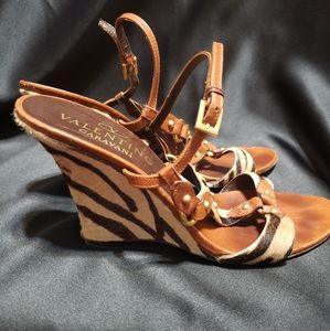Valentino Garavani Animal Print Wedge Sandals